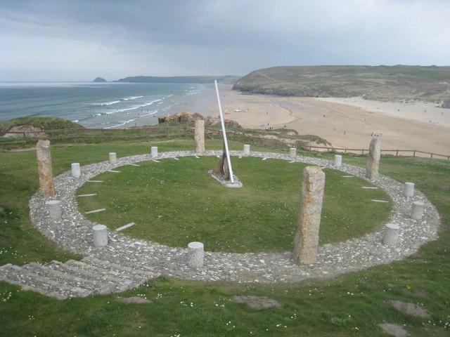 File:Millennium sundial above Perranporth beach - geograph.org.uk - 1261455.jpg