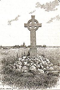 Memorial cross in village of Finderup