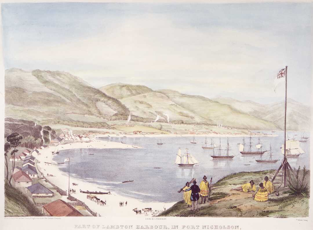 Part of Lambton Harbour, in Port Nicholson, New Zealand; comprehending about one third of the water frontage of the town of Wellington, April, 1841.