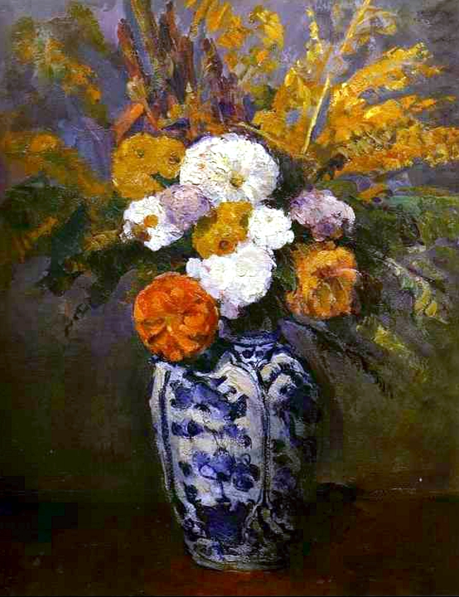 Filepaul Cezanne Dahlias Dans Un Grand Vase De Delftg