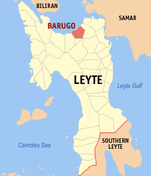 Map of Leyte showing the location of Barugo