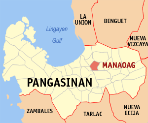 Map of Pangasinan showing the location of Manaoag