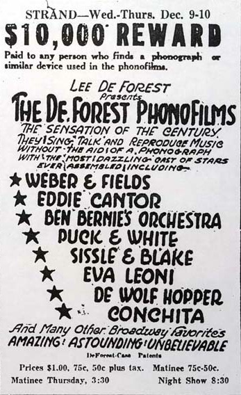 Poster promoting a Phonofilm demonstration (December 1925) Phonofilm1.jpg