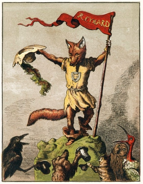 Drawing of Reynard on hill fling flag of victory while other animals cheer him on.