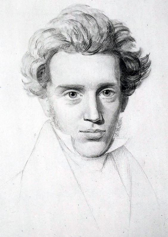 A head-and-shoulders portrait sketch of a young man in his twenties that emphasizes his face, full hair, open and forward-looking eyes and a hint of a smile. He wears a formal necktie and lapel.