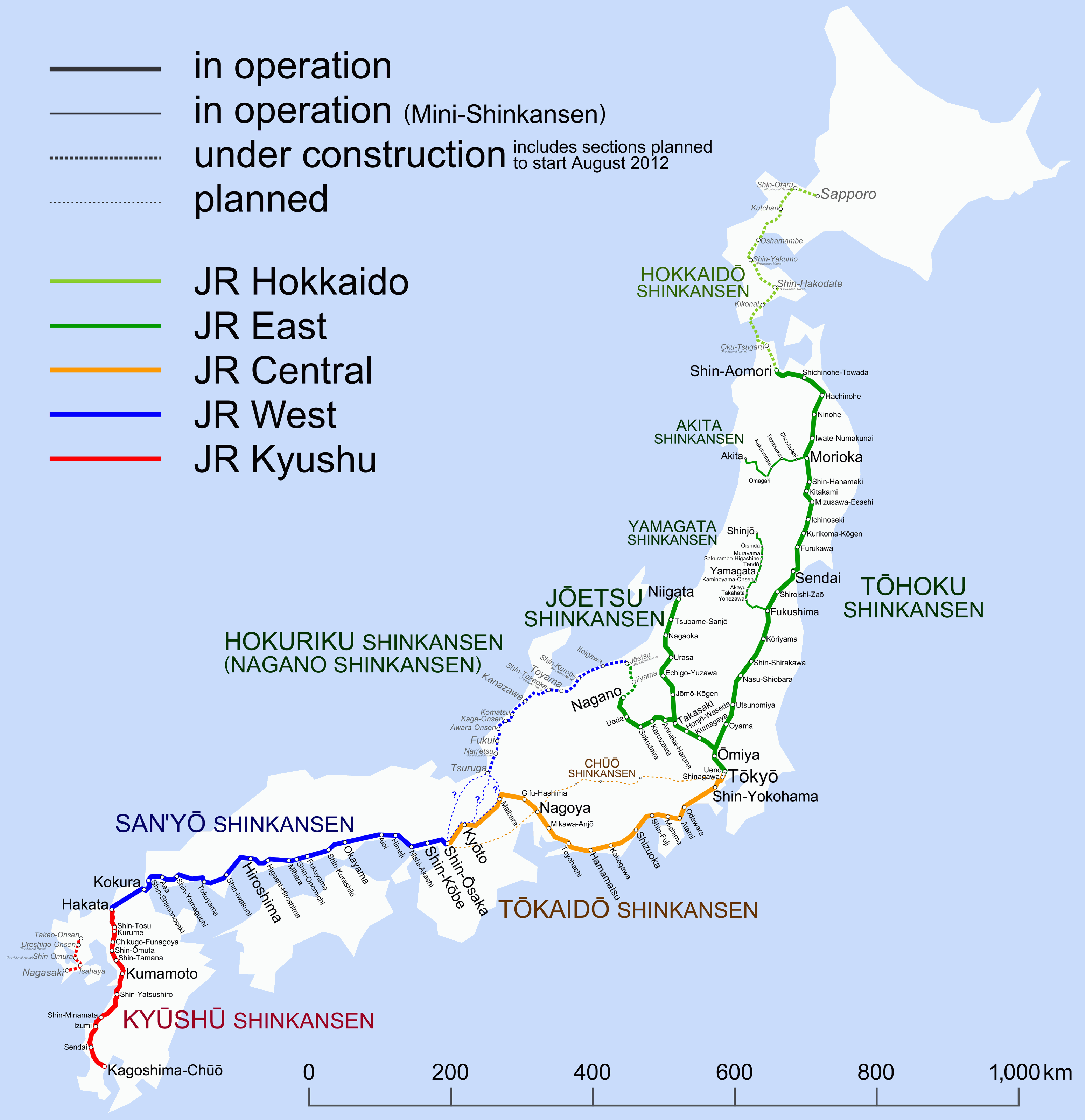 Mapa Shinkansen tren bala japon