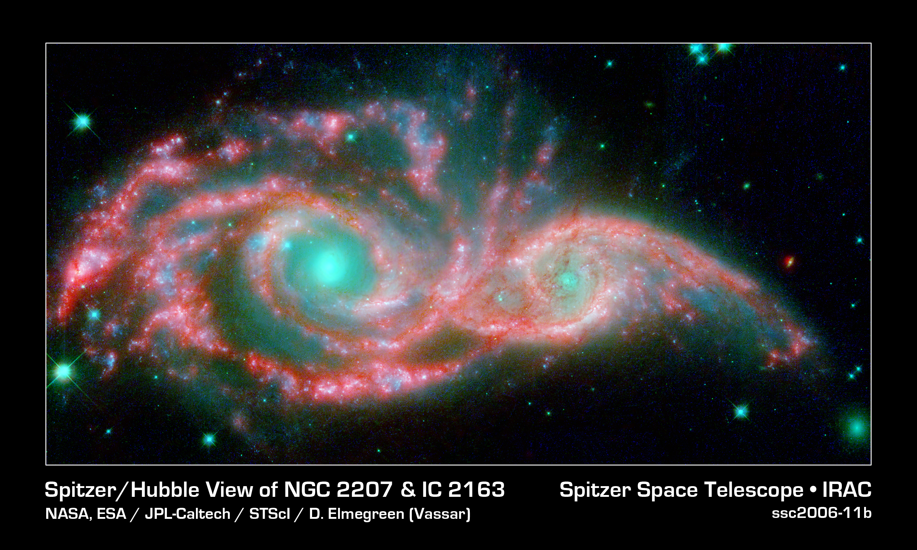 File:Spitzer, Hubble View of NGC 2207 & IC 2163.jpg