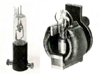 Split-anode magnetron (c. 1935). (left) The bare tube, about 11 cm high. (right) Installed for use between the poles of a strong permanent magnet