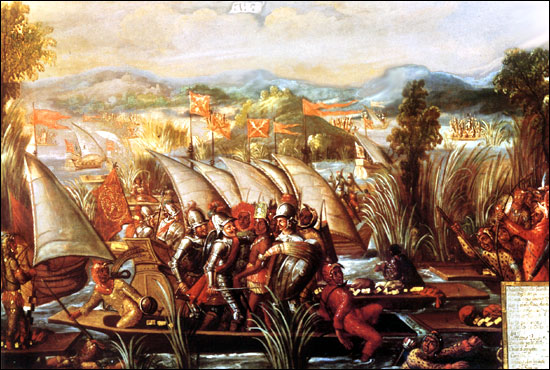 The capture of Cuauhtemoc. 17th century, oil on canvas. The capture of the Mexican Emperor Cuauhtemoc.jpg