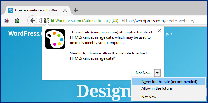 File:Typical Tor Browser notification of a canvas read attempt.png