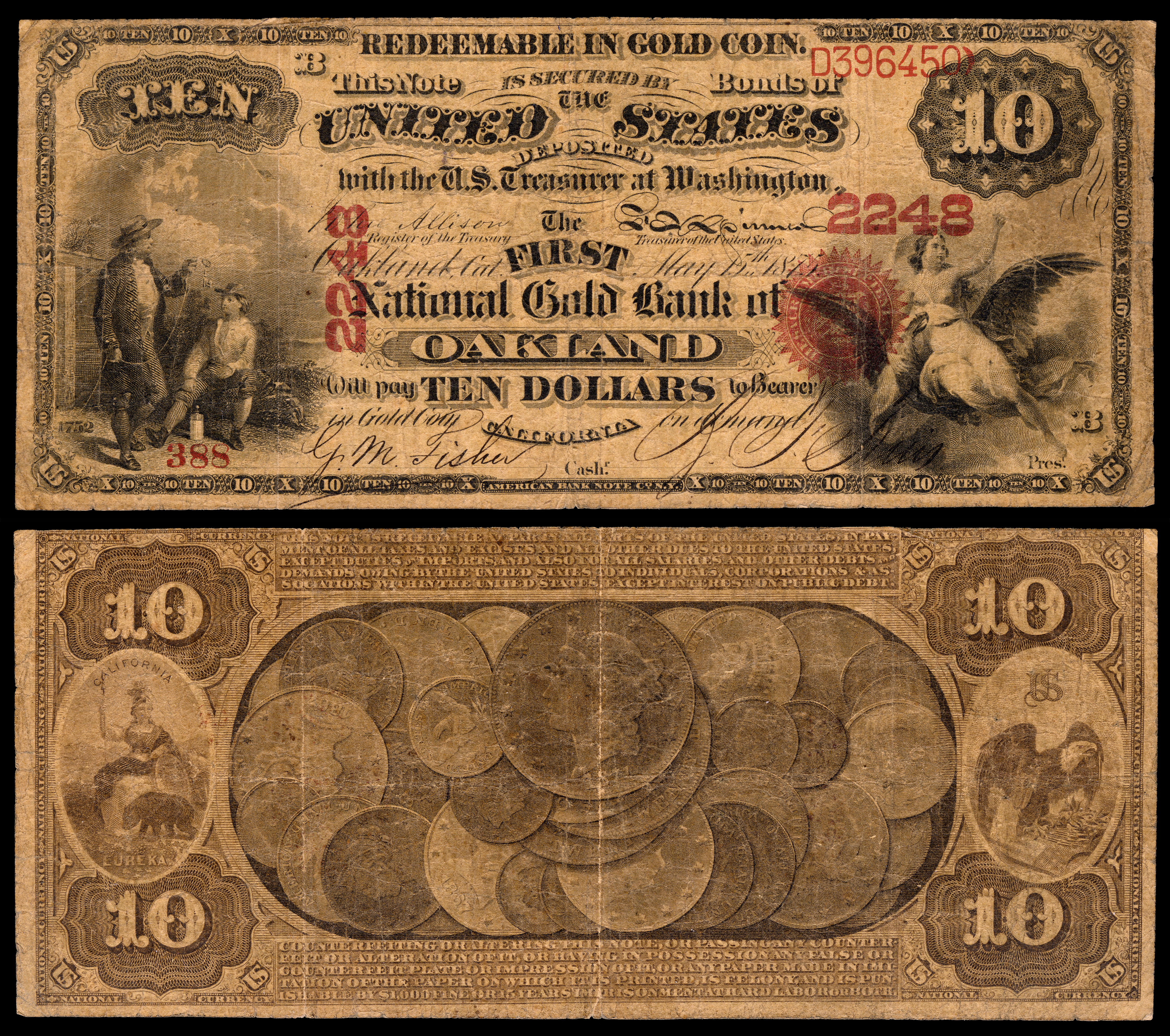 "Both sides of a ten dollar paper bank note, including text reading ""secured by bonds of the US deposited with eh US Treasurer at Washington"" and an image of coinage on the reverse"