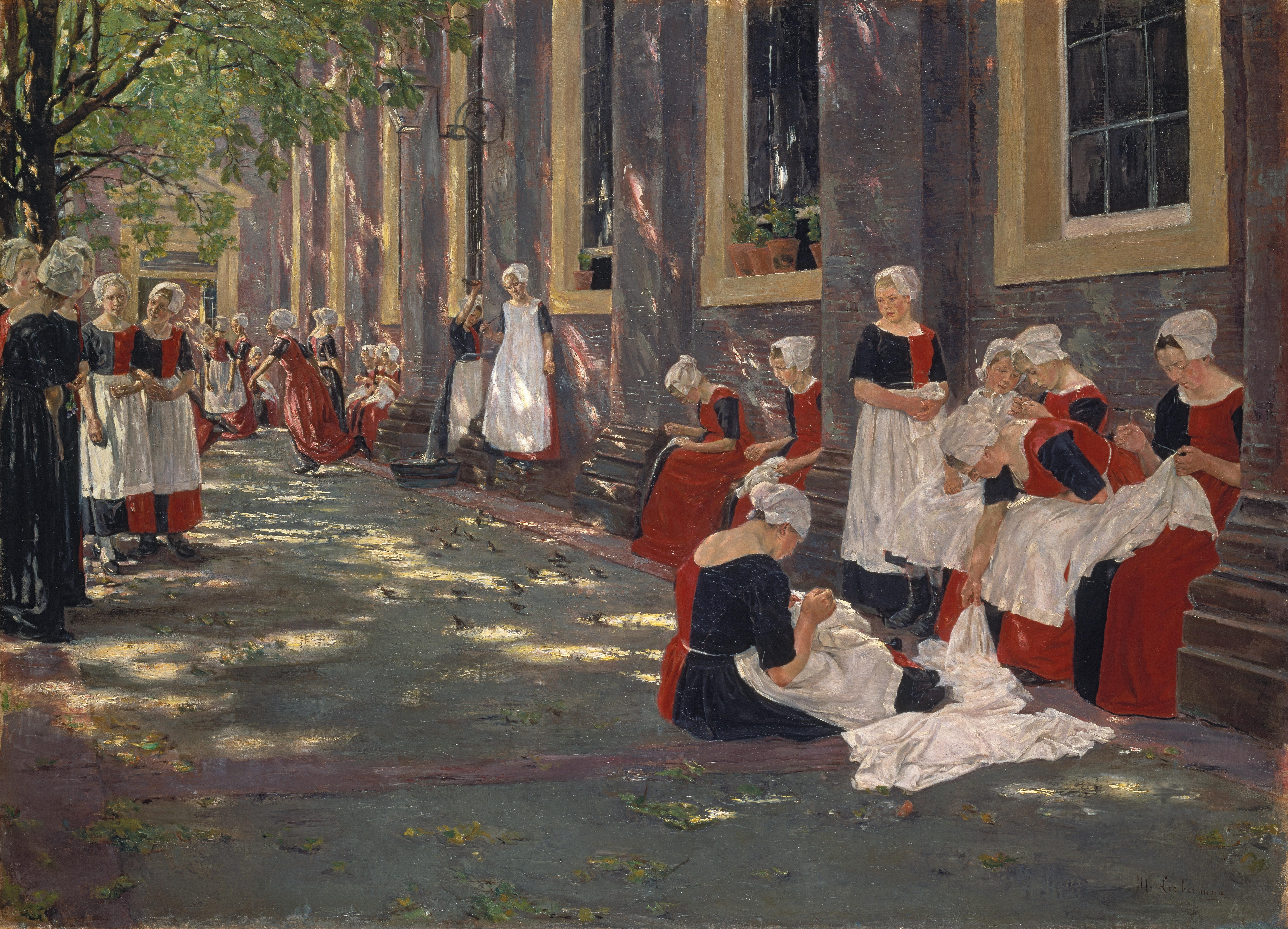 1881 Liebermann Freistunde im Amsterdamer Waisenhaus anagoria.JPG