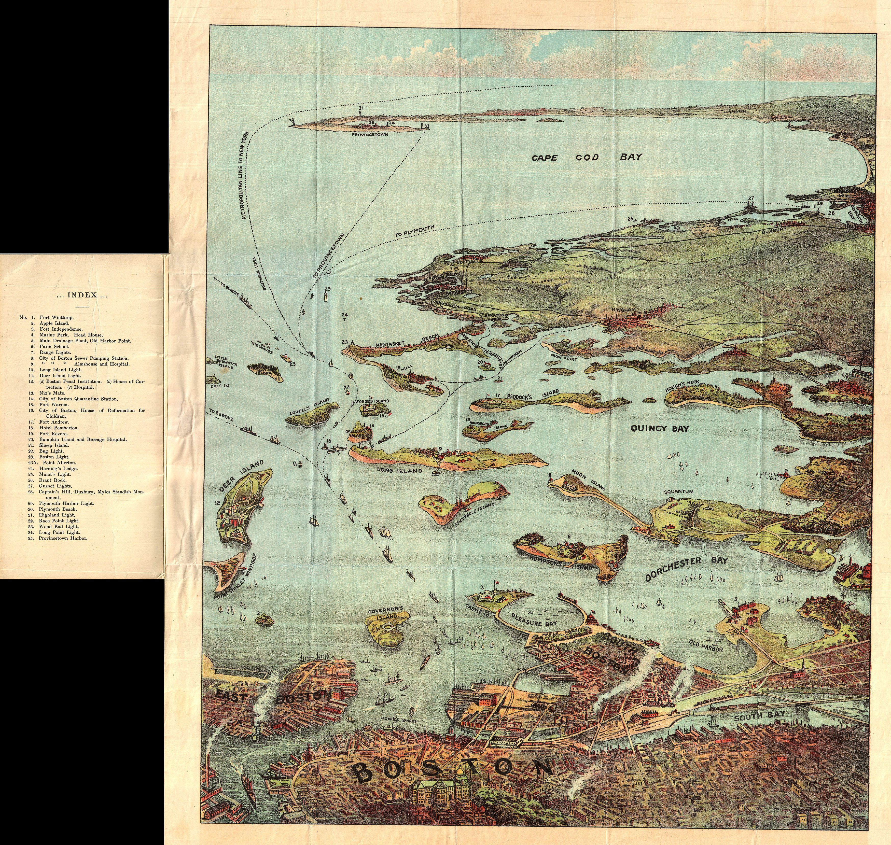 File:1890 View Map Of Boston Habor From Boston To Cape Cod
