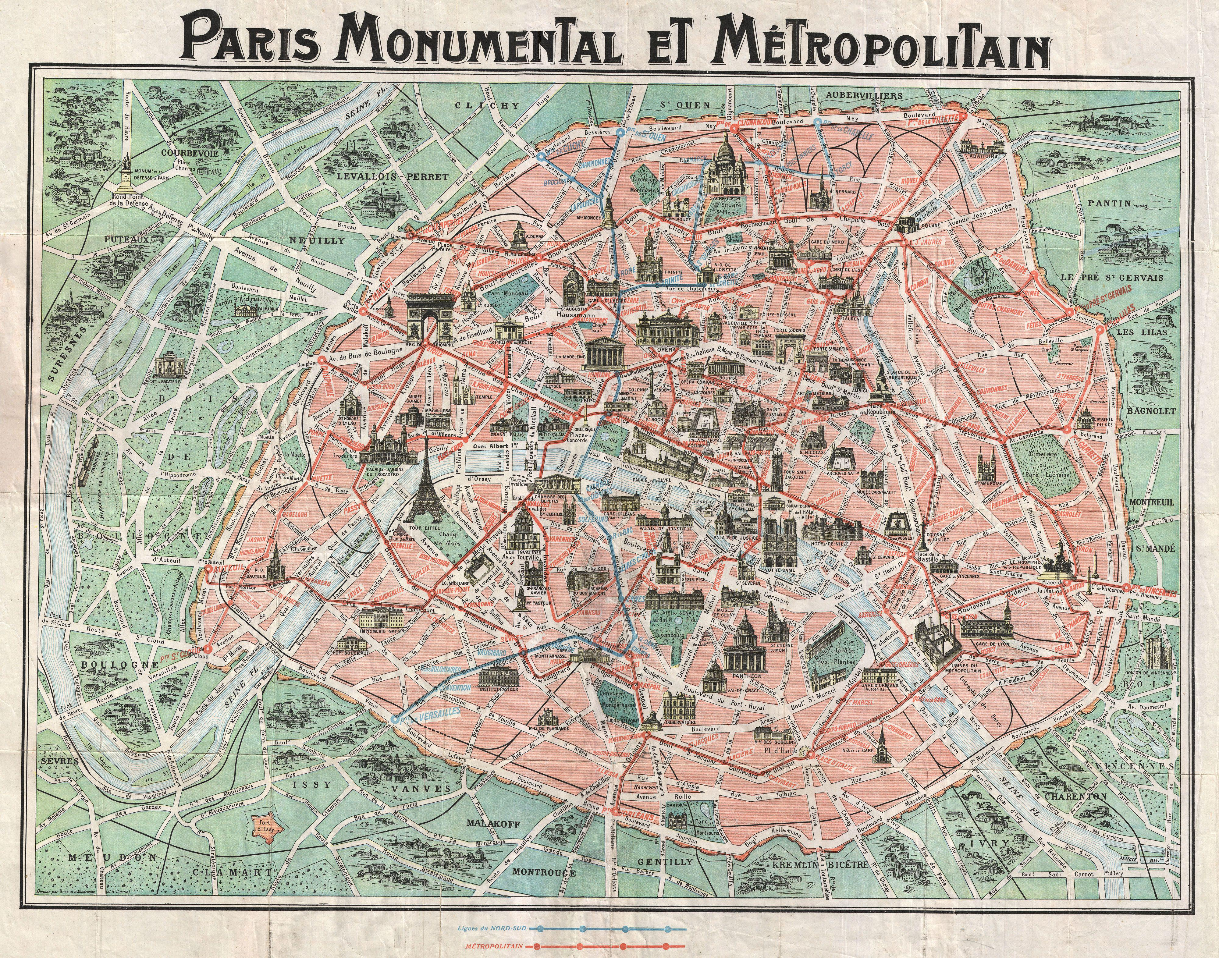 File1932 Robelin Map of Paris France wMonuments Geographicus – Map of Paris with Monuments