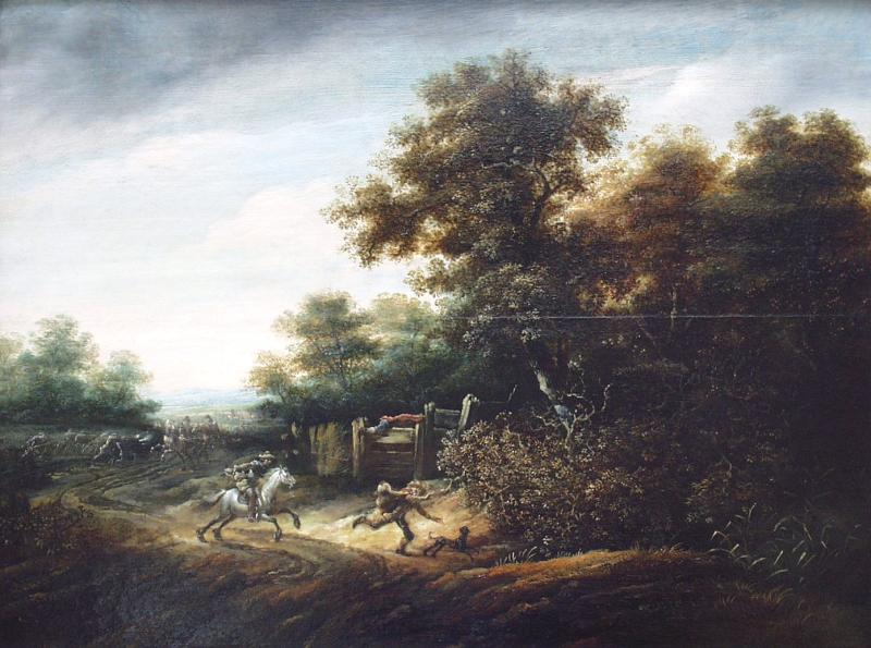 Abraham van der Hoef - landscape with scene of an armed holdup