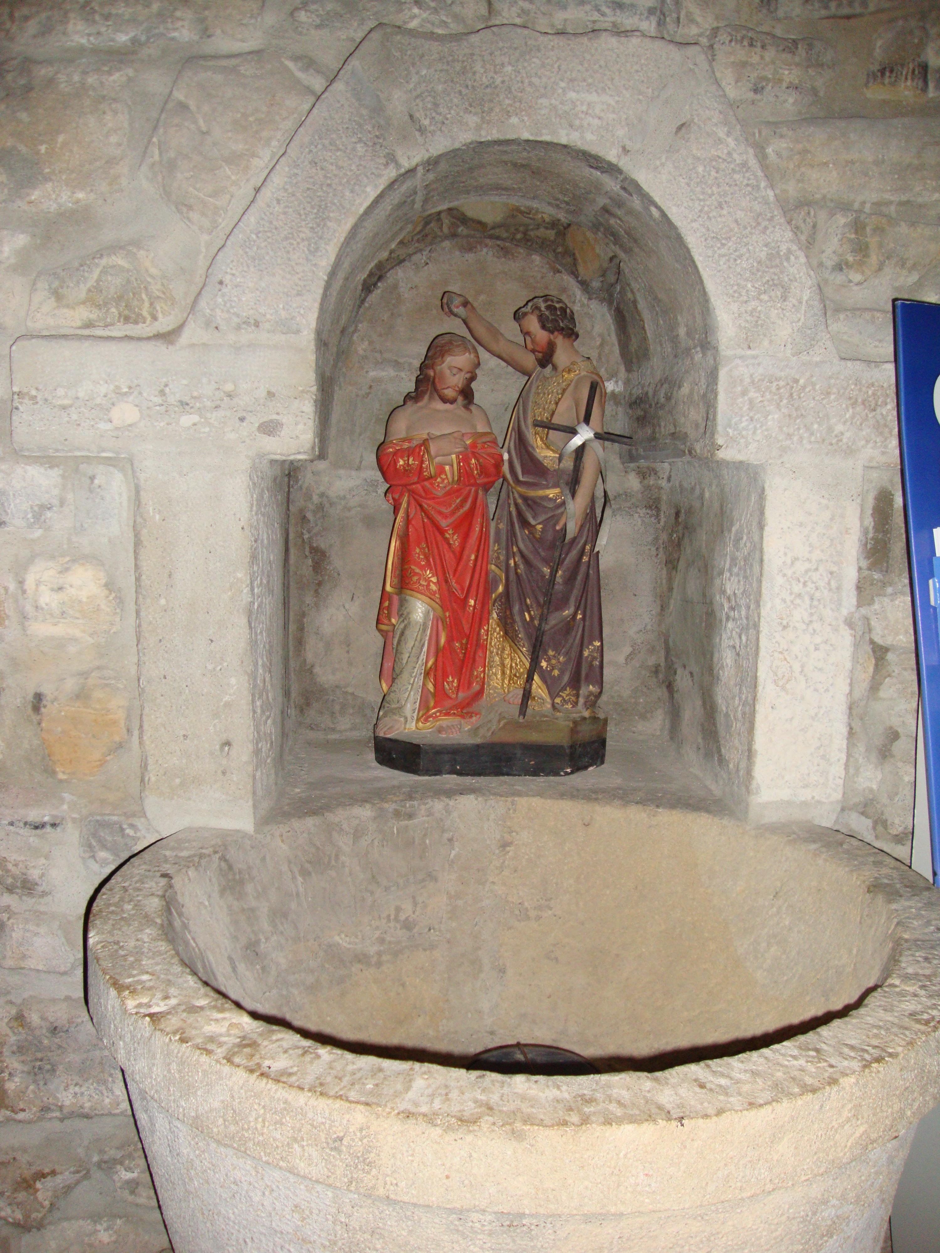 Filearbonne Pyr Atl Fr Font Baptismale Avec Le Christ Et St