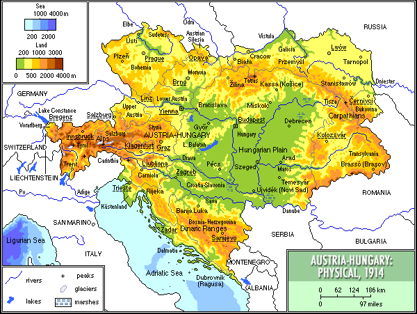 Physical map of Austria-Hungary in 1914 Austria1914physical.jpg