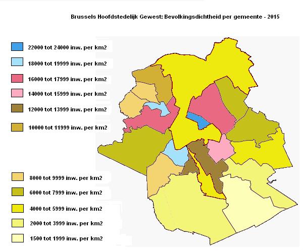 Brussels Hoofdstedelijk Gewest: Bevolkingsdichtheid per gemeente – 2015