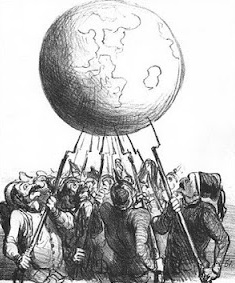 1866 cartoon by Daumier, L'Equilibre Européen, representing the balance of power as soldiers of different nations teeter the earth on bayonets