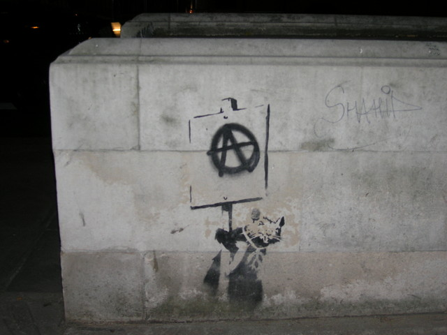 Banksy anarchist rat in Sloane Square