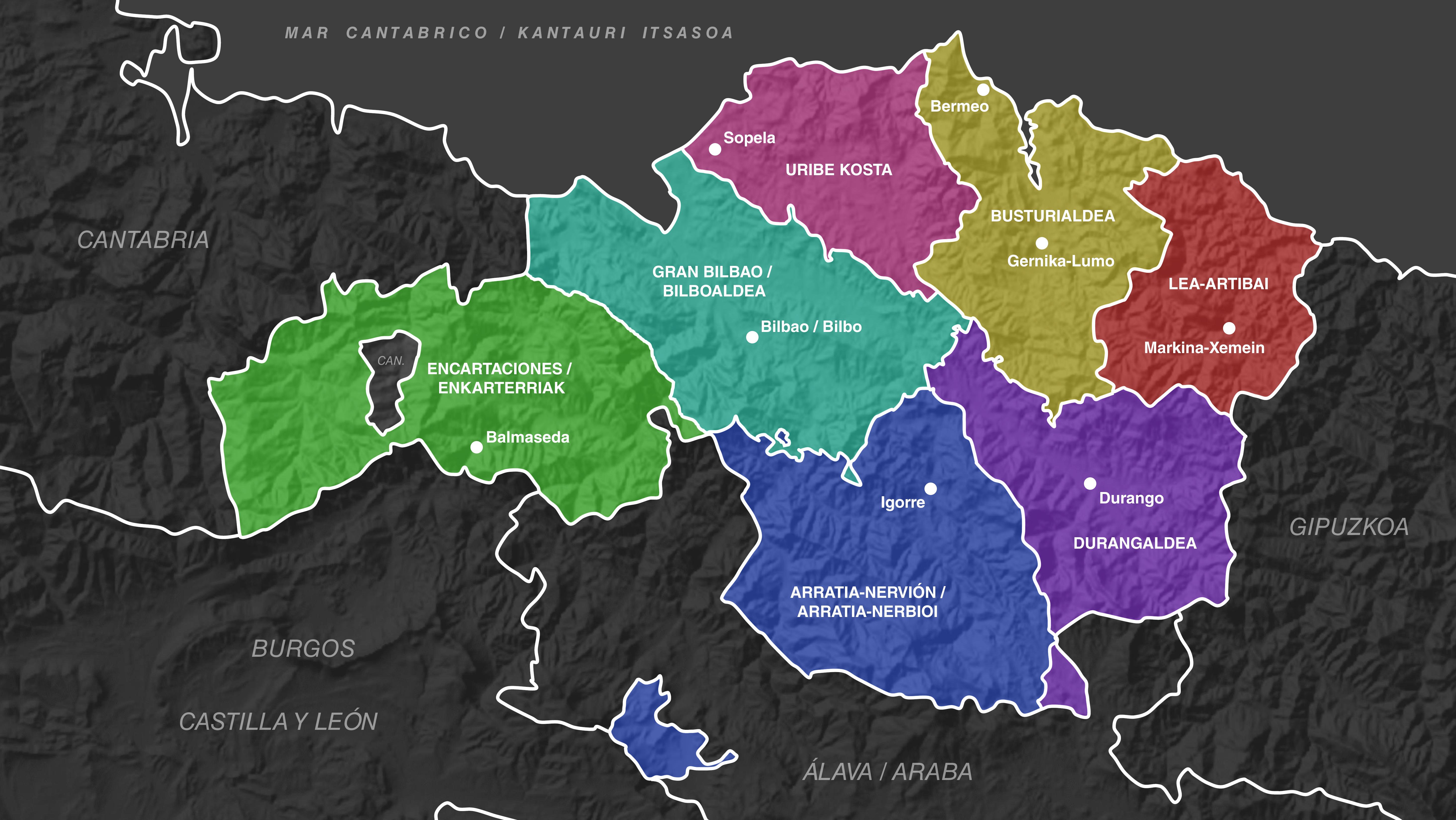 Mapa De Vizcaya Costa.Comarcas De Vizcaya Wikipedia La Enciclopedia Libre