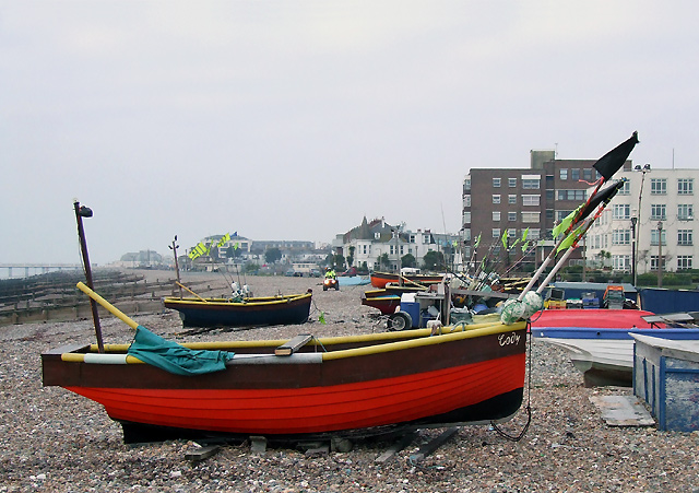 File:Boat on Worthing Beach, West Sussex - geograph.org.uk - 1113243.jpg