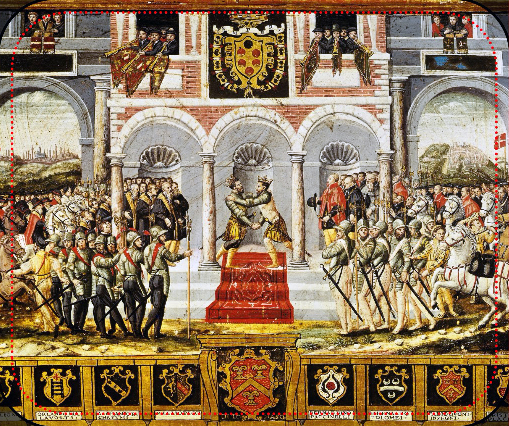 The celebrations following the Peace of Cateau-Cambr sis (1559) between Spain and France