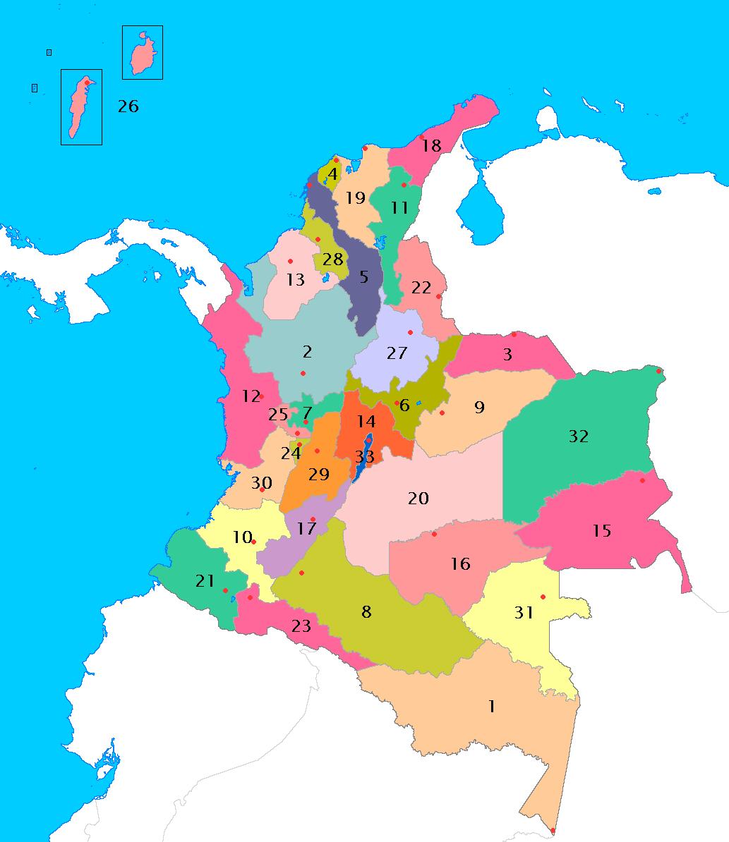 コロンビア共和国の県レベルの行政区分地図