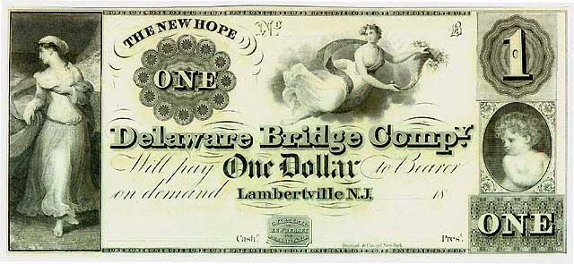 """банкнота выпускаемая компанией """"Delaware Bridge Company"""" в Нью Джерси"""