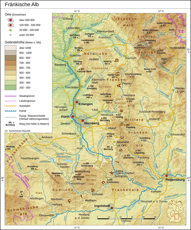 Fränkische Schweiz Karte.Fränkische Alb Wikipedia