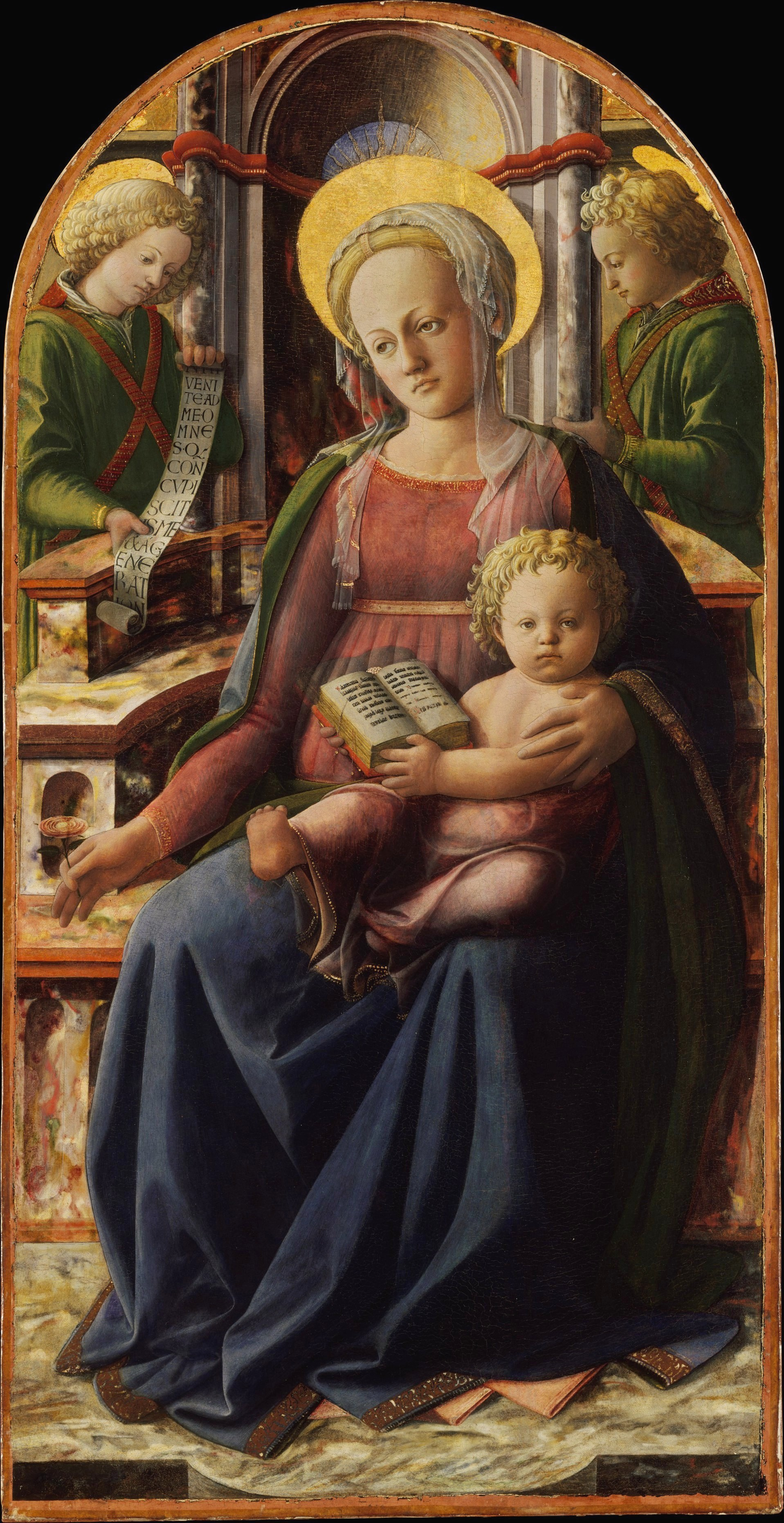 madonna and child with angels by fra filippo lippi The figure composition is taken from a painting by filippo lippi (florence, uffizi) and much of the detail (the elaborate veiled headdress of the virgin and the curls of the infant christ) is painted in his style there are also affinities, especially in the angel, with paintings by botticelli.
