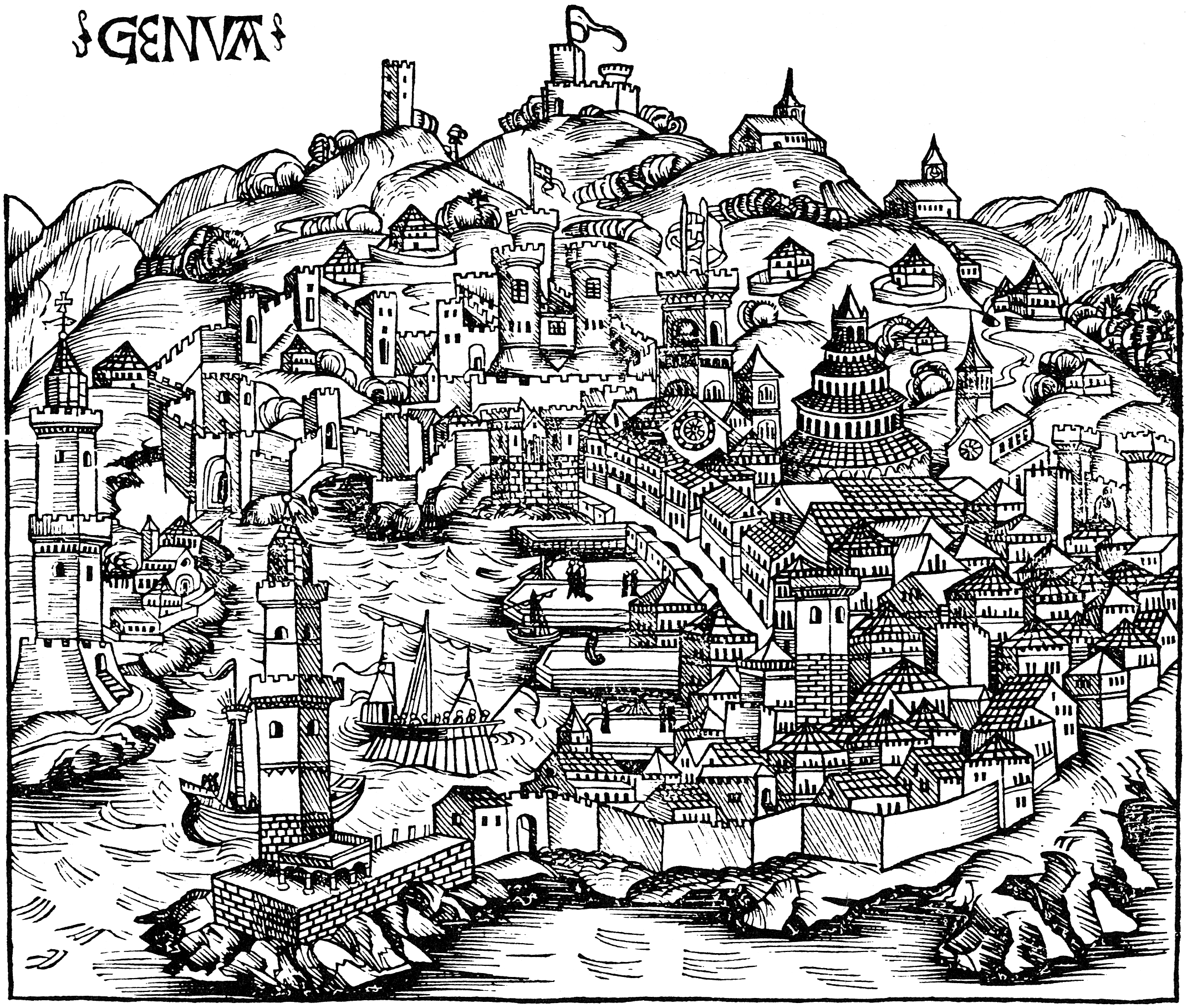 View of Genoa in Italy, around 1490.