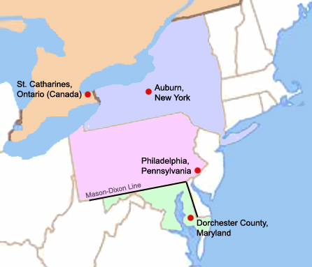 A map of four key locations in the life of Harriet Tubman