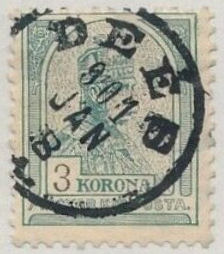 Kingdom of Hungary stamp used in Deés, 8 January 1901