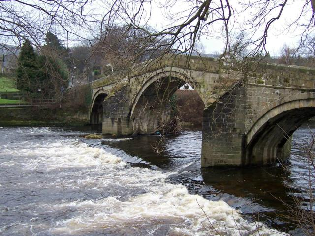 Ilkley Bridge from the north bank of the River Wharfe - geograph.org.uk - 440849