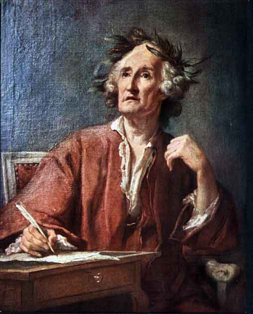 Painting of an inspired poet, writing onto a piece of paper