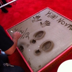 Novak was honored in a handprint and footprint ceremony at Grauman's Chinese Theatre in 2012.
