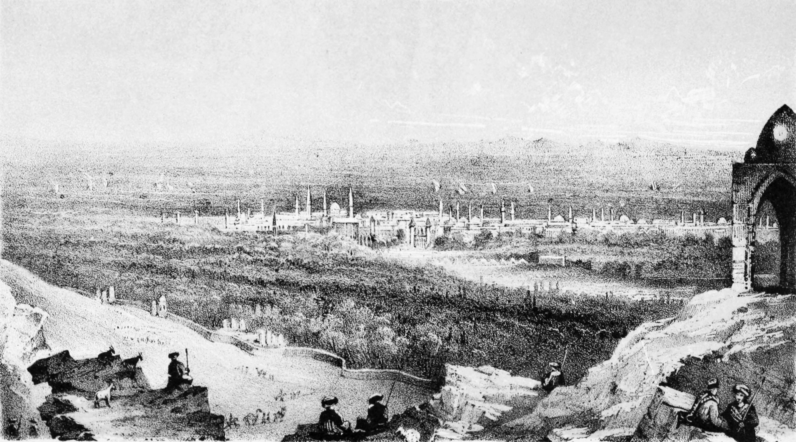 Lots d008 mid 19th century drawing of damascus in the distance.jpg