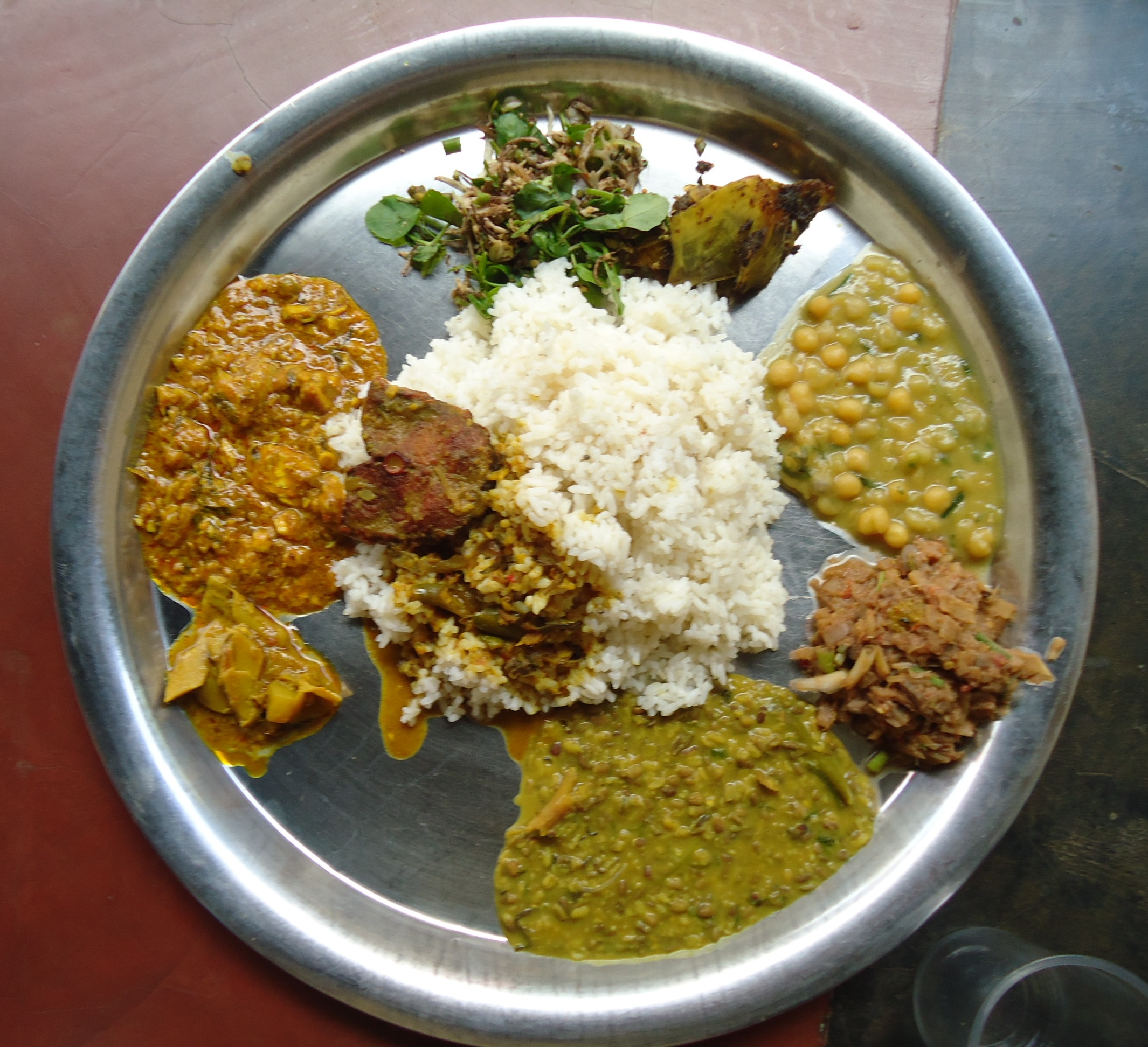 Traditional lunch plates in Manipur