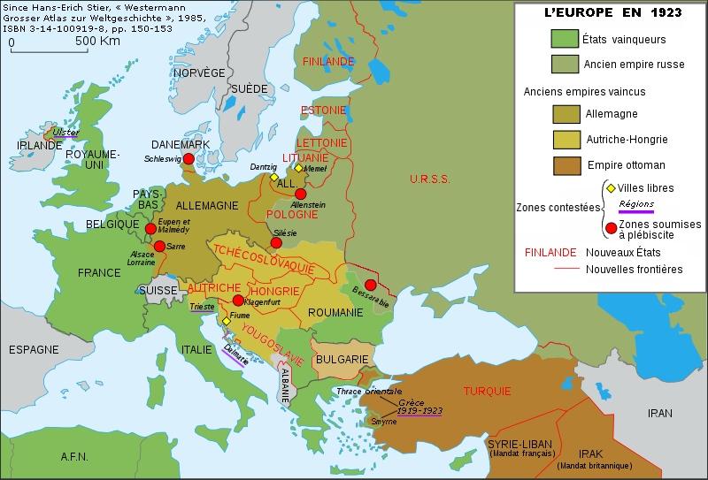 Europas karta 1923, fyra år efter undertecknandet av Versaillesfördraget