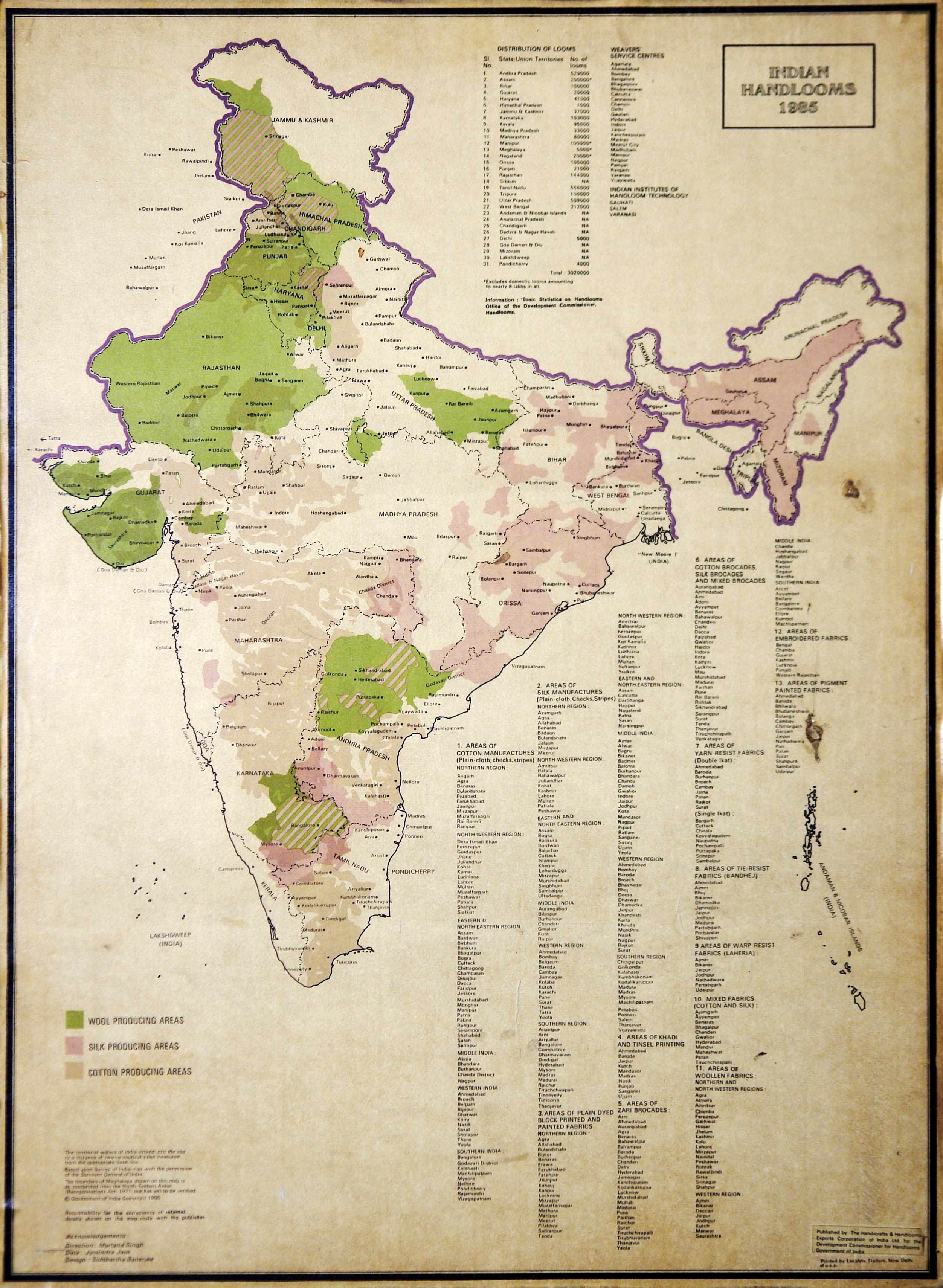 Baroda India Map.File Map Of Indian Handlooms 1985 Crafts Museum New Delhi India
