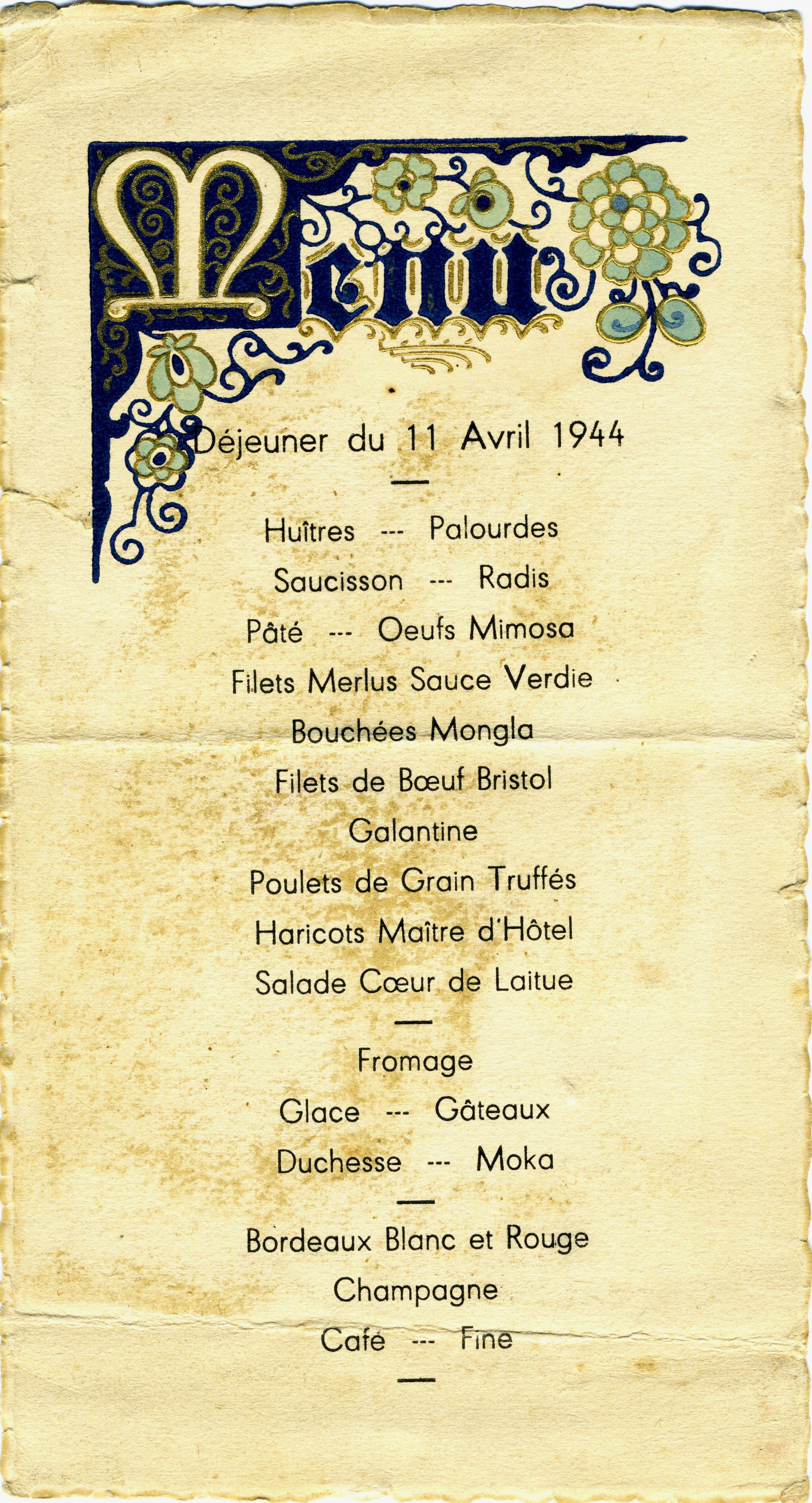 Carte Menu Cafe L Ephemere Av Du Maine