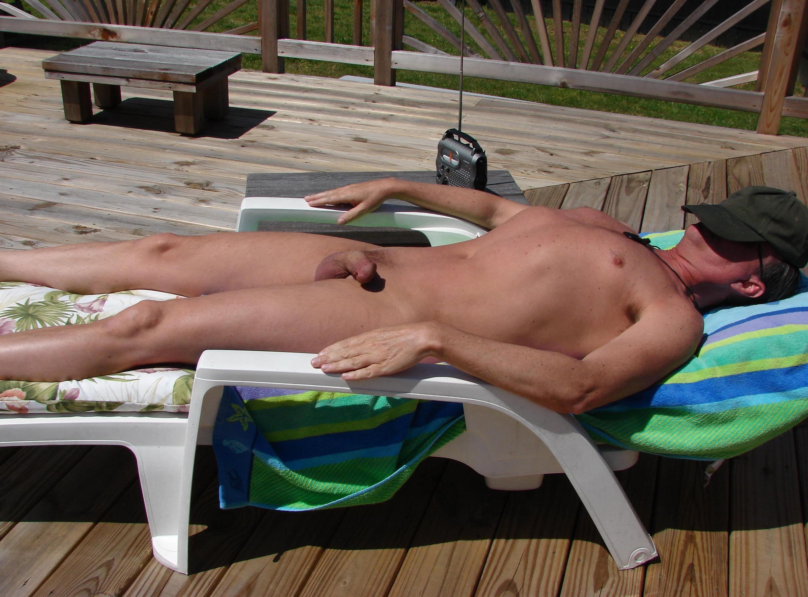 sunbathing nudist