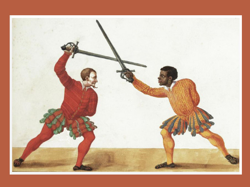 "Paulus Hector Mair.- A fencer of African descent, wielding an early rapier or ""sidesword"", De arte athletica, published in Augsburg, Germany, ca 1542."