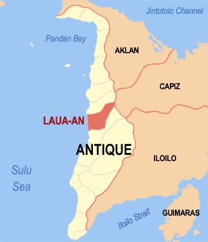 Map of Antique showing the location of Laua-an