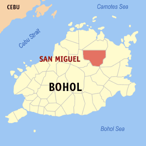 Map of Bohol showing the location of San Miguel