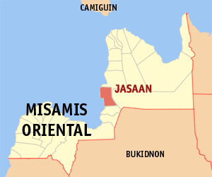 Map of Misamis Oriental showing the location of Jasaan