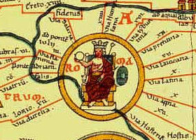 "The Tabula Peutingeriana (Latin for ""The Peutinger Map"") a Itinerarium, often assumed to be based on the Roman cursus publicus, the network of state-maintained roads. TabulaPeutingeriana Roma.jpg"