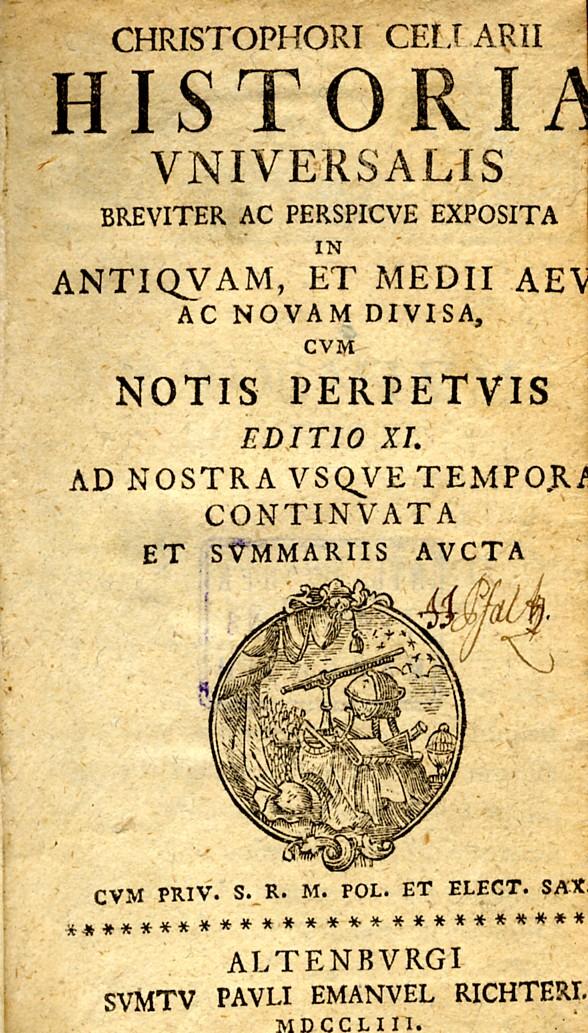 ''Historia universalis breviter ac perspicue exposita, in antiquam, et medii aevi ac novam divisa, cum notis perpetuis.''