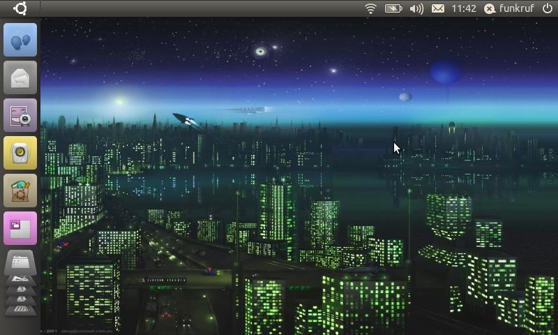 Desktop der Ubuntu 10.10 Netbook Edition mit der Standardoberfläche Unity